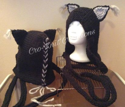 Knitted Cat Hat by Cro-KnitCreations