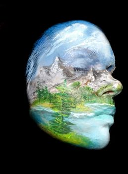 Bob Ross Face Paint Side II by Adnarimification