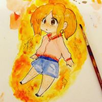 My first manga water color painting ever by camilladrawsXD