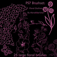 PS7Brushset-Floral Outlines by AlanaHikariChan