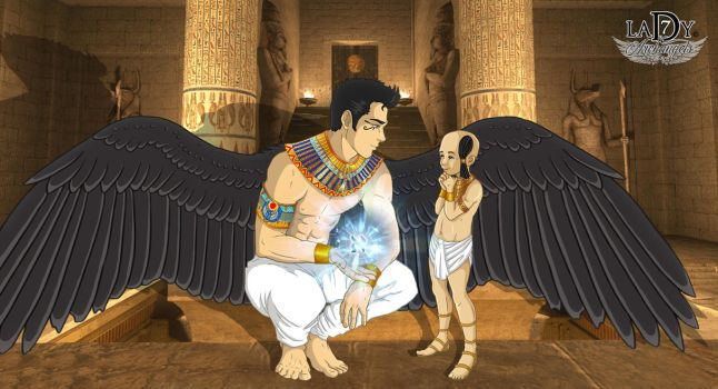 Gabriel, the guardian angel of kid Moses by lady7archangels