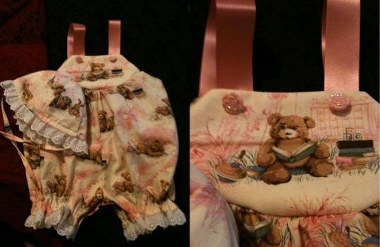 Teddy bear baby romper and hat by sgoheen06