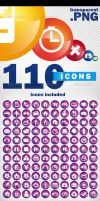 110 icons pack - transparent png + vector by doghead