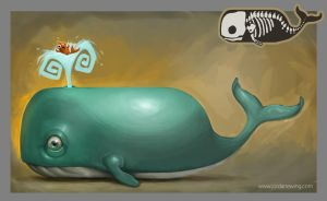 Whale and Fishy Friend by Dvolution
