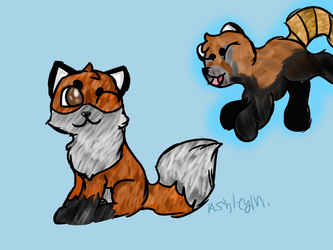 Fox and Red Panda by Thatfoxart
