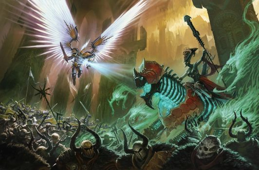 Stormcast, Death guys and Chaos dudes in a fight by BMacSmith
