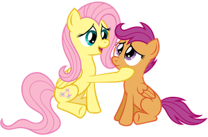 Fluttershy and Scoots by wildtiel