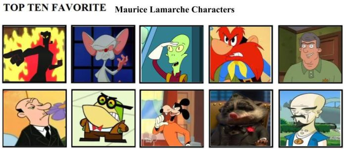 Top Ten Favorite Maurice Lamarche Characters by mlp-vs-capcom