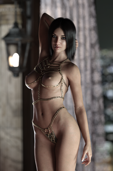 Gina seductive in chains by FranPHolland