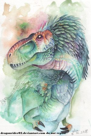 T-Rex Watercolor by DragonRider02