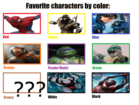 Favourite characters by colour by antivenom907
