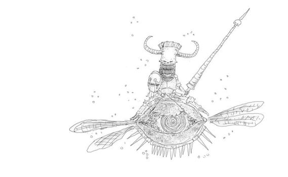 Tooth fairy warrior riding an armoured Lemonfly by basler2