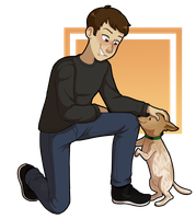 [Commission] A dude and his dog by Mars-Arts