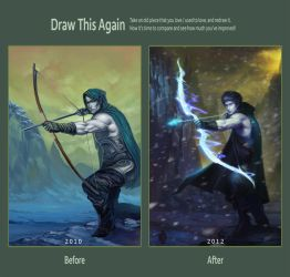 Elven Archer: before and after by phomax