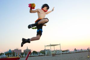 Ace Cosplay + Jump + Sunset + epic photo by RedAceCosplay