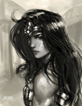 Wonder Woman with charcoal brush by Mark-Clark-II