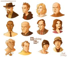 Breaking Bad - color caricatures by aerettberg