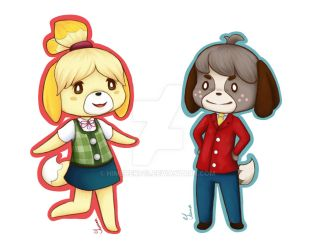 Animal Crossing NL: Isabelle and Digby Keychains by HimeNeko13