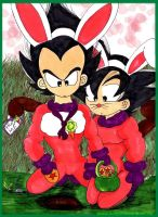 Vegeta and Goku Chibi Bunnys by SSJ-Princess-Bijou