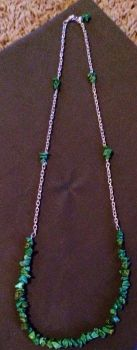 Green Stone Chip Necklace by PerryAlexandra