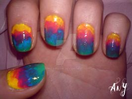 Messy Rainbow Nail Design by AnyRainbow