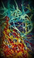 abstract art colorfull pollock style by santosam81