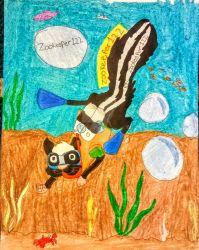 Underwater skunk drawing request for by Zookeeper122