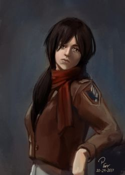 Mikasa with ponytail or something by pcenero
