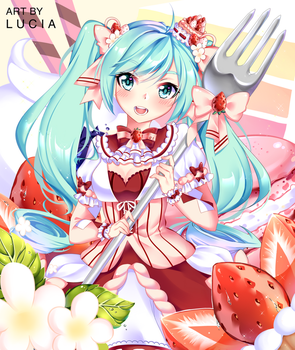 [FANART] STRAWBERRY TART MIKU by o0Lucia0o