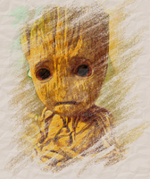 Groot Crayons Sketch Fan Art V.1.0 by jennaikikz