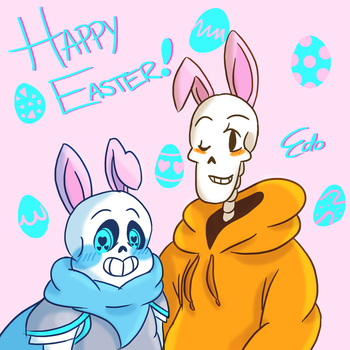 Happy Easter From UnderSwap Sans and Papyrus! by EdoBean