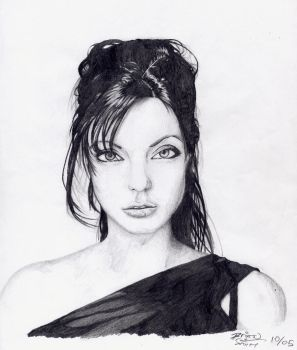 Angelina Jolie Portrait by kildeh