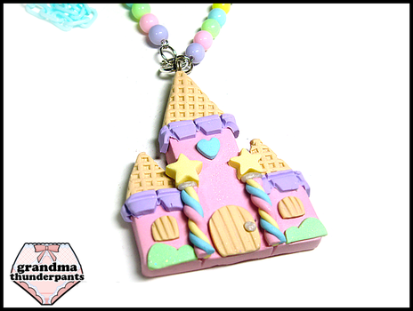 Medium Candy Castle Necklace by GrandmaThunderpants