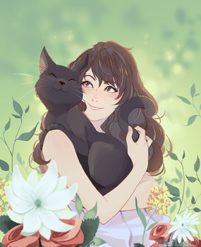 Cat n flowers by Meli-Lusion