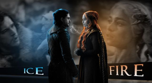 Jon and Daenerys || Ice and Fire by Angeli-Daemon