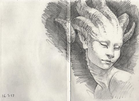 Female Faun Drawing by Art--Tool