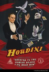 Houdini Vintage Magic Poster by PaulRomanMartinez