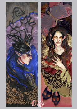 Tolkien bookmarks: Melkor and Sauron by sassynails