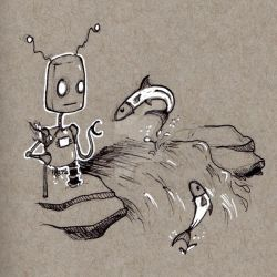 Robots: Watching Salmon by KekeIllustrations