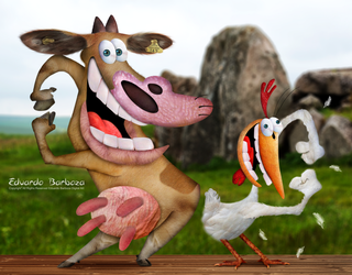 Untooned Cow and Chicken Cartoon Network by Eduardobass