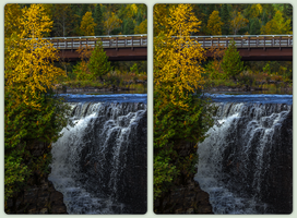 Kakabeka Falls in fall 3-D / CrossView Stereoscopy by zour