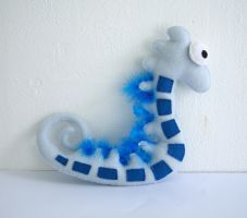 Blue Seahorse Plushie by vannesdesigns