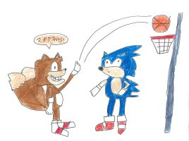 Sonic and Tails - basketball by dth1971