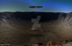 Saucer over Meteor Crater Arizona by dragonpyper