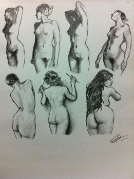 Figure Study practice sketch book page by mirapakai