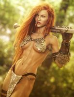 Red Sonja, Red-Head Fantasy Woman Fan-Art, DS Iray by shibashake