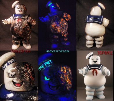 Battle Damage Mr. Stay Puft Bank By Undead Ed Glow by Undead-Art
