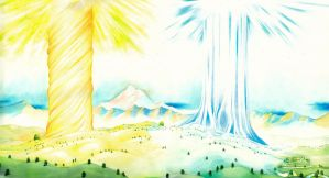Laurelin and Telperion (Two trees of Valinor V) by SarkaSkorpikova