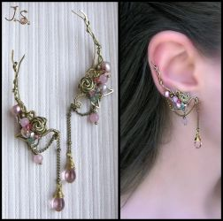 Pink dreams ear pins by JuliaKotreJewelry