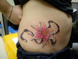 Lily tattoo with vines by HowComeHesDead